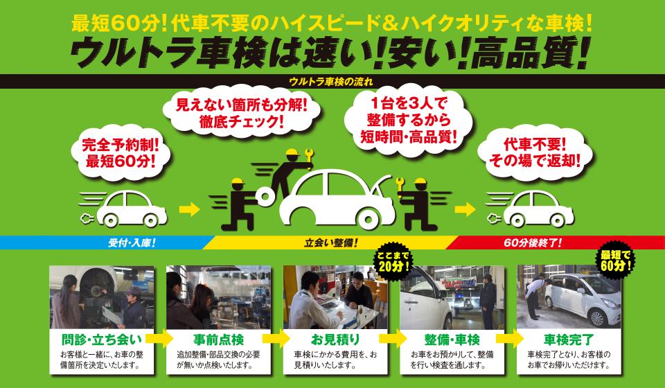最短60分!代車不要のハイスピード&ハイクオリティな車検!